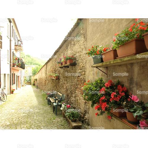 ヨーロッパ;花;イタリア;道;ベンチ;レンガ;壁;ベランダ;