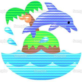 イルカと島のテンプレート素材無料ダウンロードビジネス