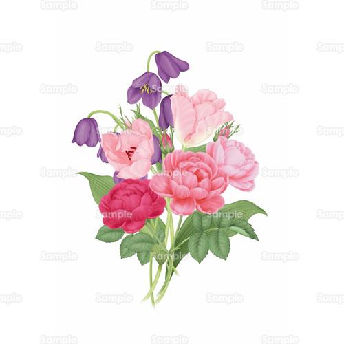 薔薇バラチューリップ花ブーケ花束のイラスト0010037