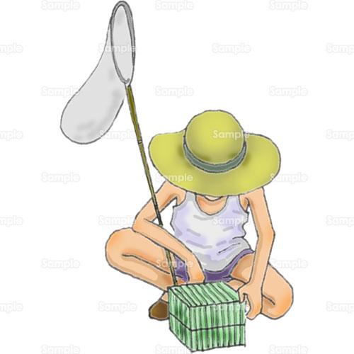 男の子少年子供虫取り網タモ虫かご麦わら帽子昭和のイラスト