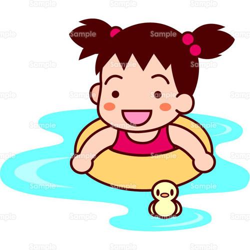 プール水泳海浮き輪人物残暑見舞いこどものイラスト0050098