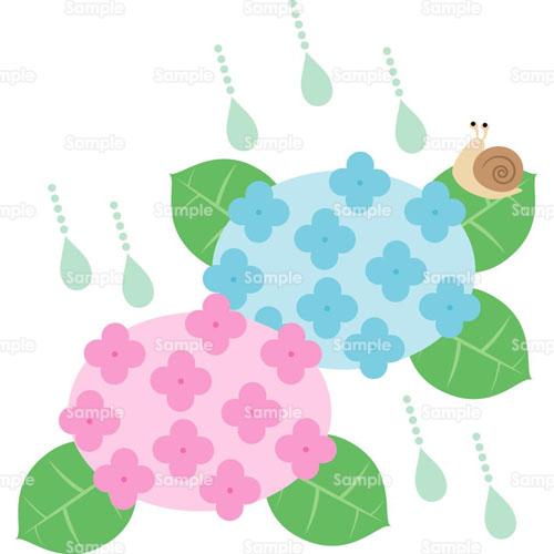 カタツムリ紫陽花あじさい花のイラスト0050108 クリエーターズ