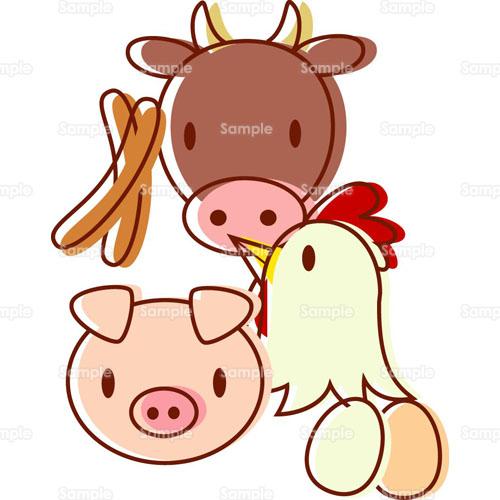 ソーセージにわとりぶた牛牛肉肉豚肉鶏肉家畜のイラスト