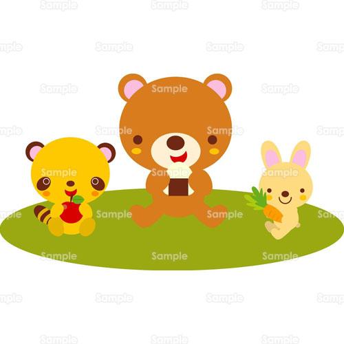 ピクニックハイキングレジャー熊クマタヌキウサギ兎狸の