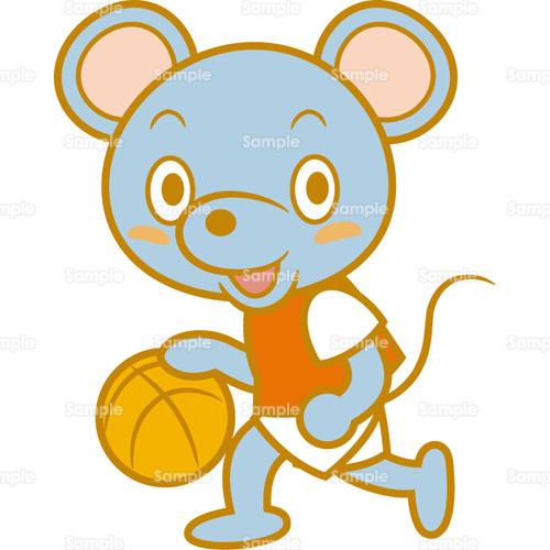 バスケ バスケットボール ねずみ ドリブル のイラスト 005 0175 クリエーターズスクウェア