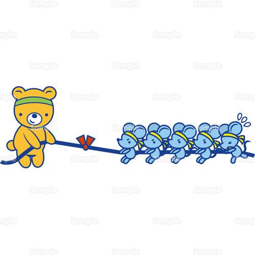 綱引きクマ熊ねずみのイラスト0050183 クリエーターズスクウェア