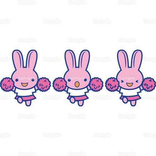 応援団応援チアガールチアリーダーウサギのイラスト0050184