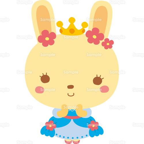 うさぎ王女お姫様ドレス王冠ティアラ兎のイラスト0050331