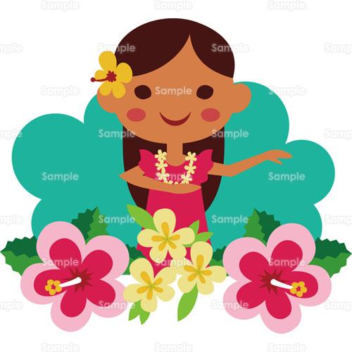 ハワイフラダンスハイビスカスプルメリア女性レイリゾートダンス
