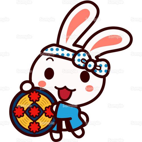 ウサギ兎花笠音頭花笠まつり花笠祭りのイラスト0050444