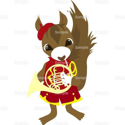 ブラスバンドりす楽器演奏音楽文化祭学園祭のイラスト0190056