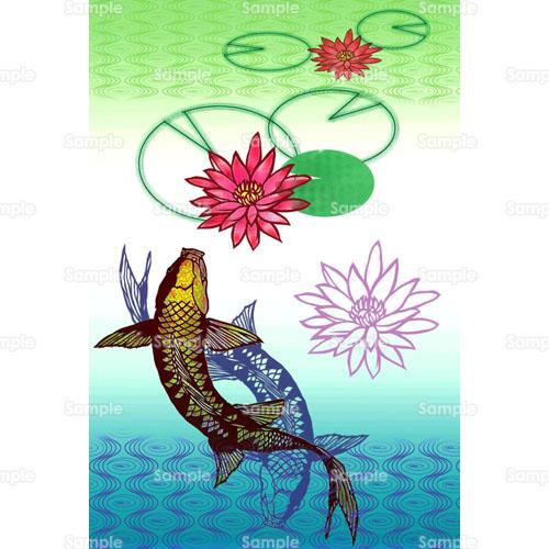 水耽美魚蓮ハス睡蓮スイレン花のイラスト0260005