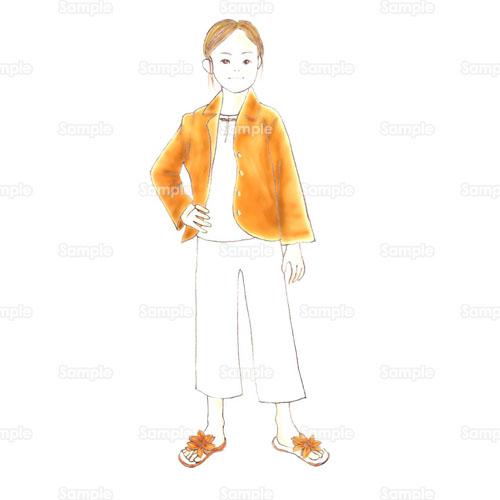 女の子少女女性サンダルジャケットおしゃれファッションの