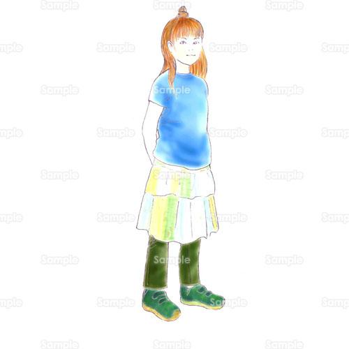女の子少女学生おしゃれファッションのイラスト0380007