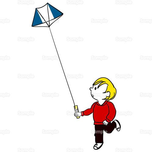 凧凧揚げたこカイト人物公園少年年賀男の子のイラスト0420005