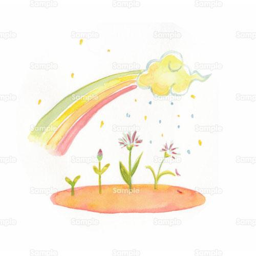 レインボー虹雨花デフォルメのイラスト0480005 クリエーターズ