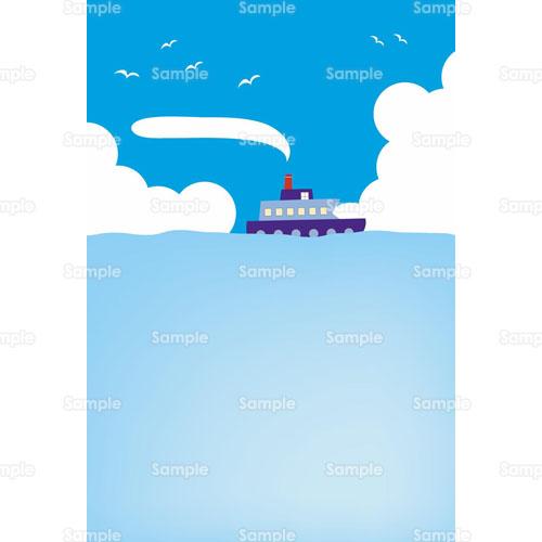 船海雲空カモメパステルカラーのイラスト0510013