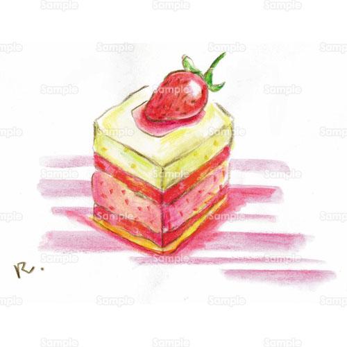 イチゴ苺ケーキショートケーキカフェのイラスト0520002