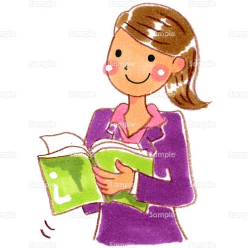 書類資料調査本女性教師先生教育実習のイラスト0520198