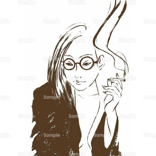 女性たばこ煙草煙眼鏡のイラスト0570004 クリエーターズスクウェア