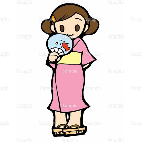 ゆかた浴衣うちわ団扇女性のイラスト0850026 クリエーターズ