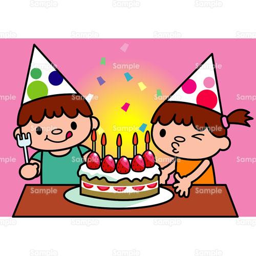 誕生日パーティーパーティーケーキろうそくこどものイラスト