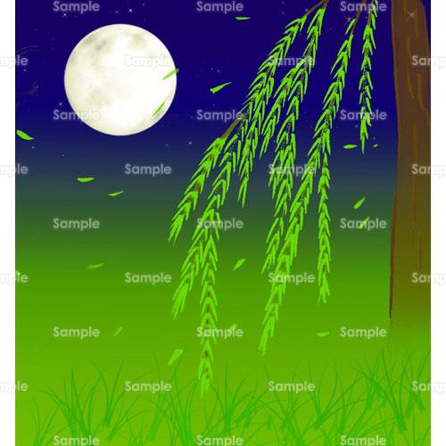 柳月夜月夜満月風のイラスト0940379 クリエーターズスクウェア