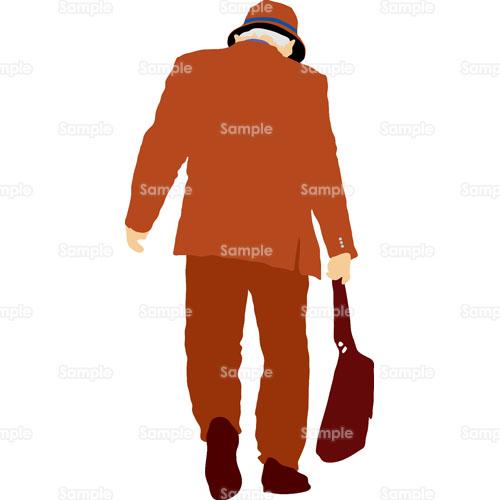 おじいさん老人背中後姿スーツのイラスト1040018 クリエーター