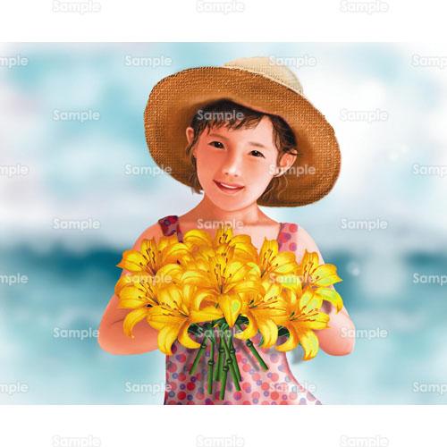 花女の子海少女麦藁帽子麦わら帽子百合花束のイラスト1050041