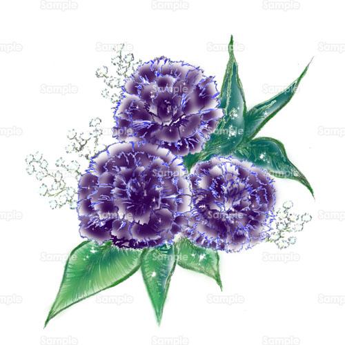 カーネーションカスミソウ花ブーケ花束のイラスト1100007