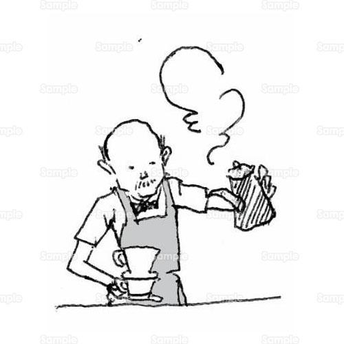 コーヒーマスター人物喫茶店珈琲カフェコーヒー豆のイラスト
