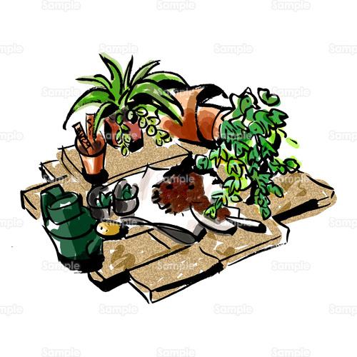 土ガーデニング庭花壇観葉植物のイラスト1470019 クリエーター
