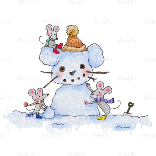 雪だるま 雪 ネズミ のイラスト 151 0023 クリエーターズスクウェア