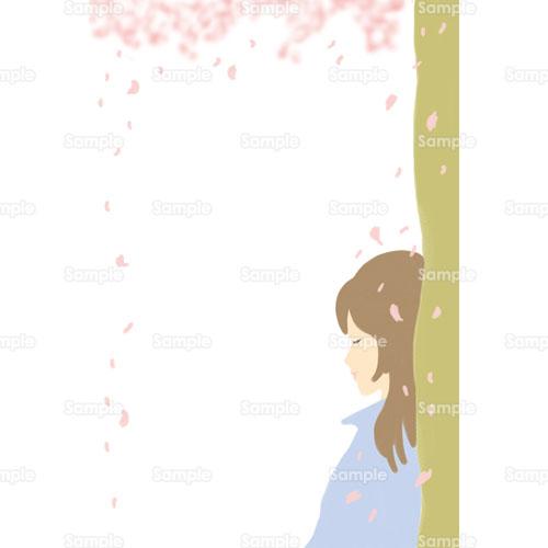 桜サクラお花見花女の子女性パステルカラーかわいい風景の