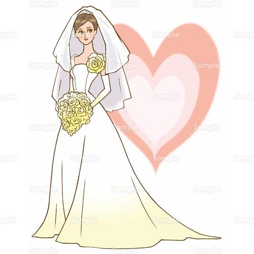 花嫁新婦ウェデングドレスハート結婚式のイラスト1950012