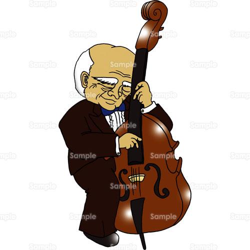 ジャズコントラバス楽器ライブコンサート音楽男性のイラスト