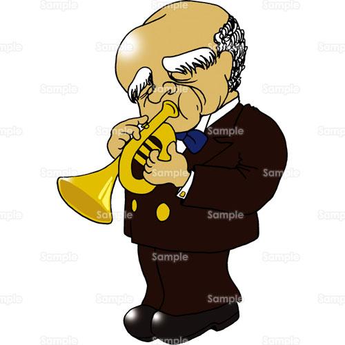ジャズトランペット楽器音楽ライブコンサート男性のイラスト