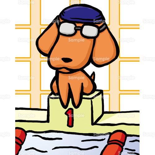 プール水泳ゴーグル飛び込み犬イヌのイラスト2130050