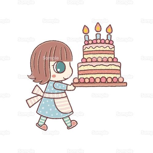 ケーキ誕生日ケーキパーティー女の子エプロンバースデーケーキ料理