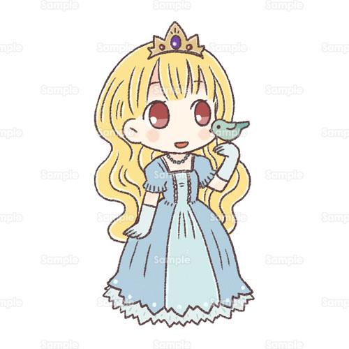 お姫様プリンセスドレス王冠小鳥昔話おとぎ話女の子のイラスト