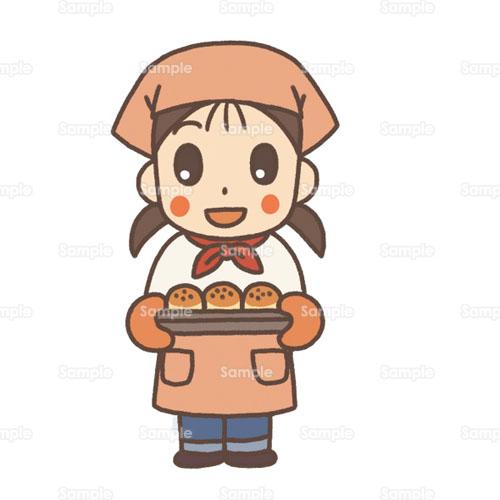 パン屋パン屋さんエプロン調理実習女性のイラスト2200091