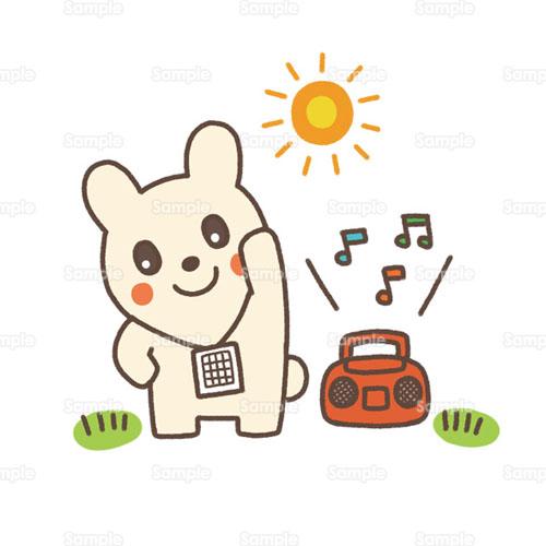 ラジオ体操運動ラジオウサギ兎のイラスト2200103 クリエーター