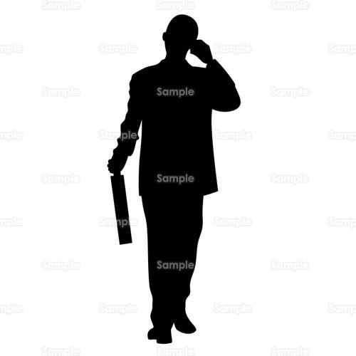 会社員携帯電話ケータイ携帯営業マンカバン男性シルエット