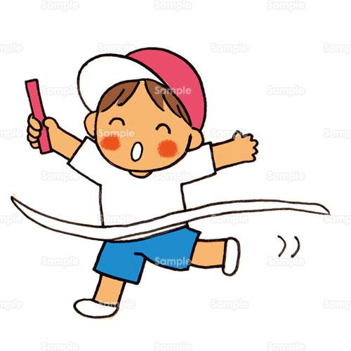 リレー ゴール 徒競走 かけっこ バトン テープ 体操服 紅白帽 赤白帽 のイラスト 254 0006 クリエーターズスクウェア