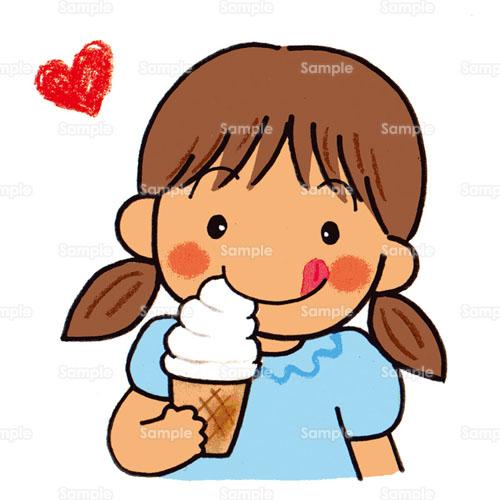 ソフトクリームアイスクリーム女の子こどものイラスト2540007