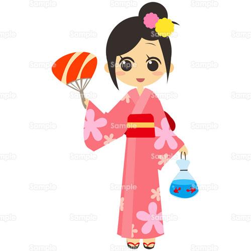 浴衣ゆかた金魚すくい金魚うちわ団扇女性女の子のイラスト