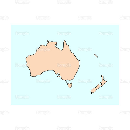 地図世界地図オセアニアオーストラリアのイラストbusi11008